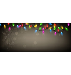 Gray banner with Christmas garland vector image