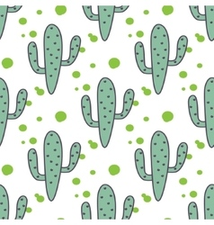 Green mint cactuses seamless pattern vector image