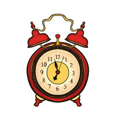 hand drawn old alarm clock wake-up time vector image
