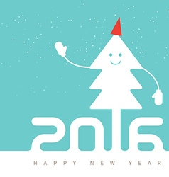 Happy New Year Design with smiling Christmas tree vector