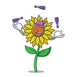 juggling sunflower mascot cartoon style vector image
