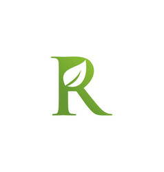 letter r leaf nature logo vector image