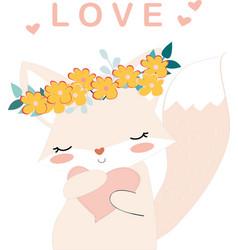 Lovely fox girl and heart vector