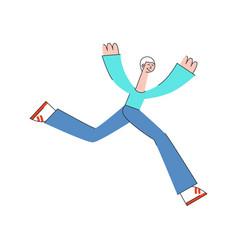 man in sportswear running in trendy flat style vector image
