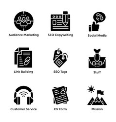 Market and economy glyph icons pack vector