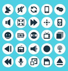 Media icons set collection of arrow bullhorn vector