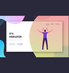 Mediator peacemaker website landing page man vector