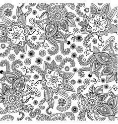 mehndi seamless pattern coloring book for adults vector image