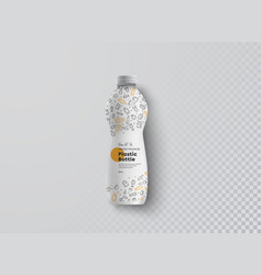 Mockup a plastic bottle narrowed in center vector