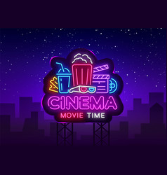 movie time neon logo cinema night neon vector image