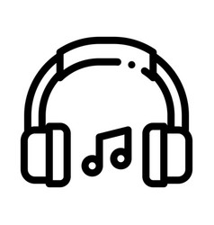 Music headphones and musical notes icon vector