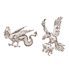 Mythical basilisk and antique roc ancient vector