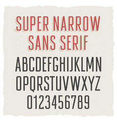 narrow sans serif 003 vector image