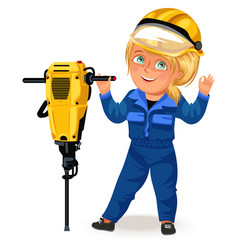 not female professions strong woman builder in vector image