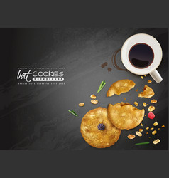 Oat cookies black background vector