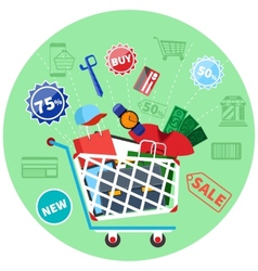 Online shopping cart with goods concept vector