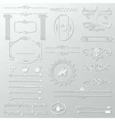 ornate design elements cut paper set vector image