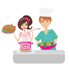 Pair of funny cooks on white vector image