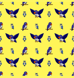 pattern lovebirds and owls on a yellow background vector image
