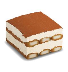 Piece tiramisu cake realistic dessert vector
