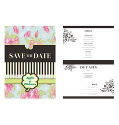 Pink flower brown background wedding invitation vector
