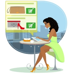 Pretty blackhair woman sitting alone in the cafe vector image