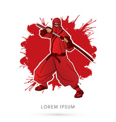 red ninja and sword vector image