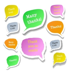 Retro clouds thank you speech vector image
