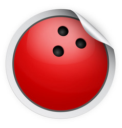 Round sticker with bowling ball vector
