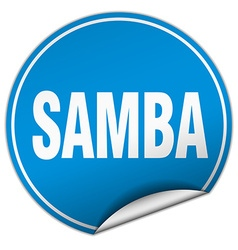 Samba round blue sticker isolated on white vector