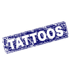 Scratched tattoos framed rounded rectangle stamp vector