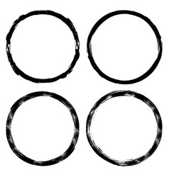 set brush strokes paint circles on white ink vector image