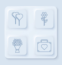 set line balloons in form heart with ribbon vector image
