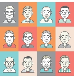set of cartoon-style hipster characters vector image