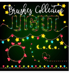 set of color garlands festive decorations light vector image