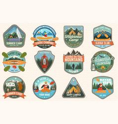 set summer camp canoe and kayak club badges vector image
