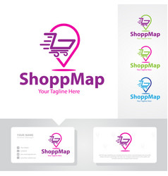 Shop map logo designs vector