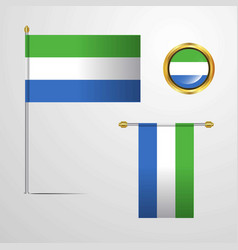 sierra leone waving flag design with badge vector image