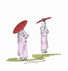 sketch burmese buddhist nuns with red sun vector image