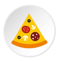 Slice of pizza icon flat style vector
