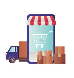 smartphone with tent and shopping cart vector image