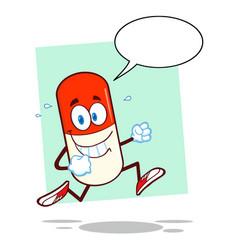 Smiling pill capsule cartoon character running vector