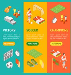 soccer sport game signs 3d banner vecrtical set vector image