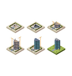 stage construction isometric high modern building vector image