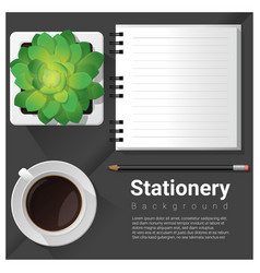 stationery scene with office equipment background vector image
