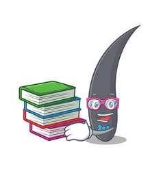 student with book hair mascot cartoon style vector image