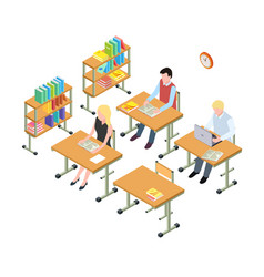 students working in library isometric vector image