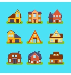 Suburban Real Estate Houses Collection vector