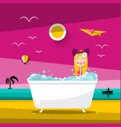 Sunset landscape with beautiful woman in bathtub vector
