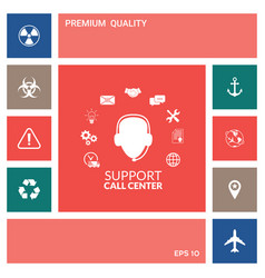 technical support operator flat icon elements vector image